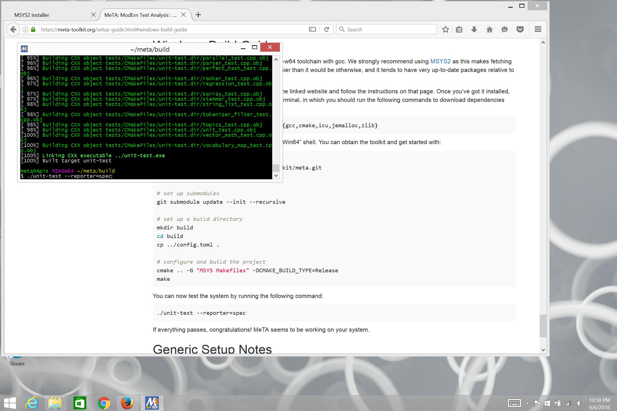 MeTA: ModErn Text Analysis : Windows Setup Guide